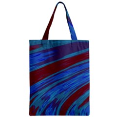 Swish Blue Red Abstract Zipper Classic Tote Bag by BrightVibesDesign