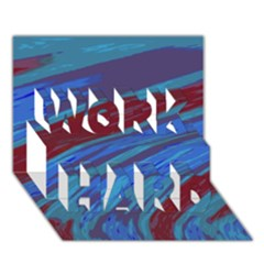 Swish Blue Red Abstract Work Hard 3d Greeting Card (7x5)  by BrightVibesDesign