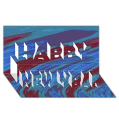 Swish Blue Red Abstract Happy New Year 3d Greeting Card (8x4)  by BrightVibesDesign