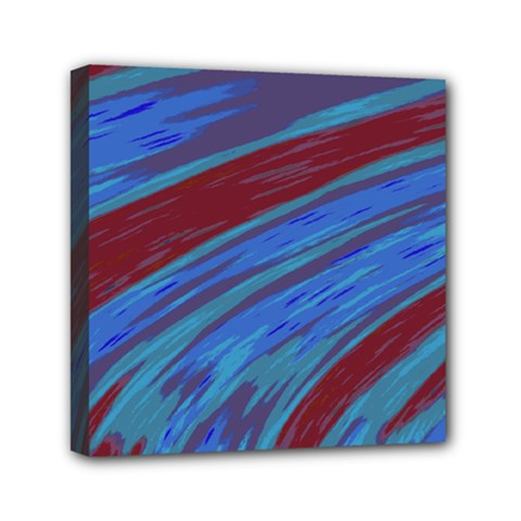 Swish Blue Red Abstract Mini Canvas 6  X 6  by BrightVibesDesign