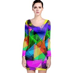 Colorful Triangles                                                                  Long Sleeve Velvet Bodycon Dress by LalyLauraFLM