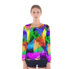 Colorful Triangles                                                                  Women Long Sleeve T Shirt by LalyLauraFLM
