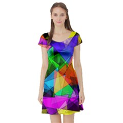 Colorful Triangles                                                                  Short Sleeve Skater Dress by LalyLauraFLM