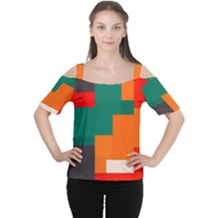 Rectangles And Squares  In Retro Colors                                                                   Women s Cutout Shoulder Tee by LalyLauraFLM