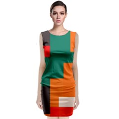 Rectangles And Squares  In Retro Colors                      Classic Sleeveless Midi Dress