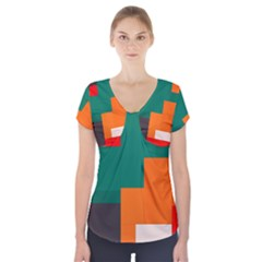 Rectangles And Squares  In Retro Colors    Short Sleeve Front Detail Top