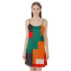 Rectangles And Squares  In Retro Colors                                                                   Satin Night Slip by LalyLauraFLM