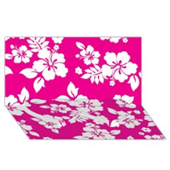 Pink Hawaiian Twin Heart Bottom 3D Greeting Card (8x4)