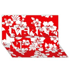 Red Hawaiian Merry Xmas 3d Greeting Card (8x4)  by AlohaStore