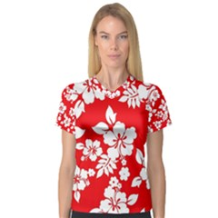 Red Hawaiian Women s V Neck Sport Mesh Tee by AlohaStore