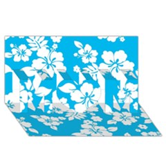 Light Blue Hawaiian Mom 3d Greeting Card (8x4)