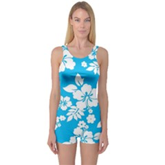 Light Blue Hawaiian One Piece Boyleg Swimsuit by AlohaStore