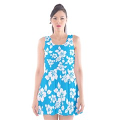 Light Blue Hawaiian Scoop Neck Skater Dress by AlohaStore