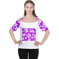 Purple Hawaiian Women s Cutout Shoulder Tee by AlohaStore