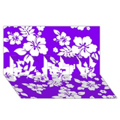 Violet Hawaiian Party 3d Greeting Card (8x4)  by AlohaStore