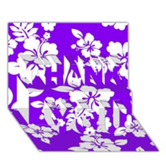 Violet Hawaiian Thank You 3d Greeting Card (7x5)  by AlohaStore