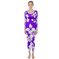 Violet Hawaiian Long Sleeve Catsuit by AlohaStore