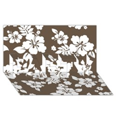 Sepia Hawaiian Party 3d Greeting Card (8x4)  by AlohaStore