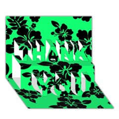 Dark Lime Hawaiian Thank You 3d Greeting Card (7x5)