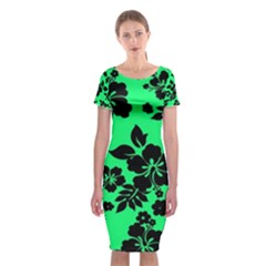 Dark Lime Hawaiian Classic Short Sleeve Midi Dress
