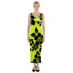 Dark Hawaiian Fitted Maxi Dress by AlohaStore