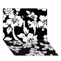 Black And White Hawaiian Peace Sign 3d Greeting Card (7x5)  by AlohaStore