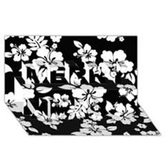 Black And White Hawaiian Merry Xmas 3d Greeting Card (8x4)  by AlohaStore