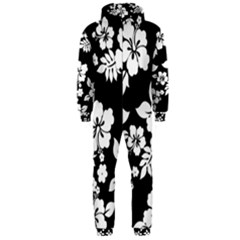 Black And White Hawaiian Hooded Jumpsuit (men)  by AlohaStore