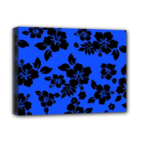 Dark Blue Hawaiian Deluxe Canvas 16  X 12   by AlohaStore
