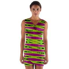 Green Pink Geometric Wrap Front Bodycon Dress