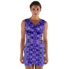 Blue Black Geometric Pattern Wrap Front Bodycon Dress