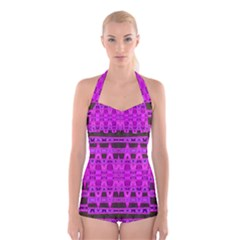Bright Pink Black Geometric Pattern Boyleg Halter Swimsuit