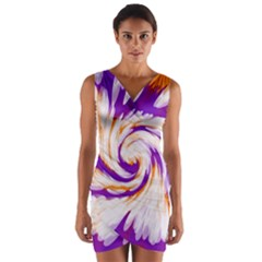 Tie Dye Purple Orange Wrap Front Bodycon Dress