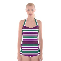 Purple Green Stripes Boyleg Halter Swimsuit  by BrightVibesDesign