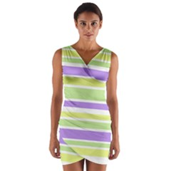 Yellow Purple Green Stripes Wrap Front Bodycon Dress by BrightVibesDesign