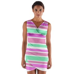 Pink Green Stripes Wrap Front Bodycon Dress