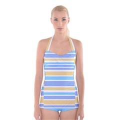 Blue Yellow Stripes Boyleg Halter Swimsuit  by BrightVibesDesign