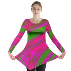 Swish Bright Pink Green Design Long Sleeve Tunic