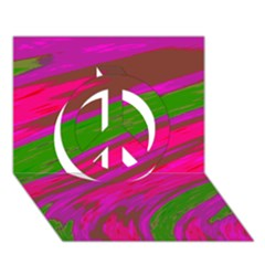 Swish Bright Pink Green Design Peace Sign 3d Greeting Card (7x5)  by BrightVibesDesign