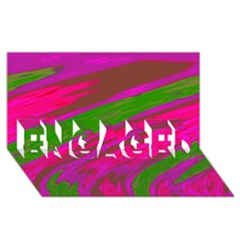 Swish Bright Pink Green Design Engaged 3d Greeting Card (8x4)  by BrightVibesDesign