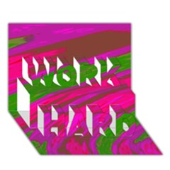 Swish Bright Pink Green Design Work Hard 3d Greeting Card (7x5)  by BrightVibesDesign