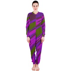 Swish Purple Green Onepiece Jumpsuit (ladies)  by BrightVibesDesign