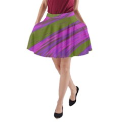 Swish Purple Green A Line Pocket Skirt by BrightVibesDesign