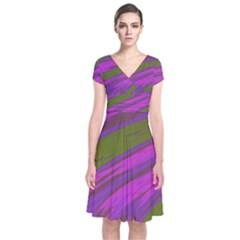 Swish Purple Green Short Sleeve Front Wrap Dress