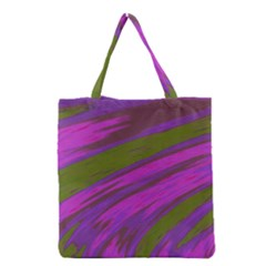 Swish Purple Green Grocery Tote Bag by BrightVibesDesign