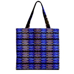 Pattern Tile Blue White Green Zipper Grocery Tote Bag by BrightVibesDesign