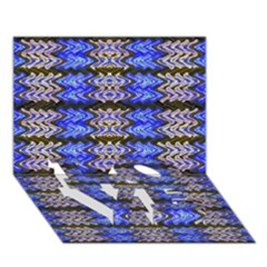 Pattern Tile Blue White Green Love Bottom 3d Greeting Card (7x5)  by BrightVibesDesign