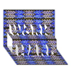 Pattern Tile Blue White Green Work Hard 3d Greeting Card (7x5)  by BrightVibesDesign