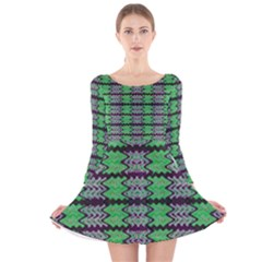 Pattern Tile Green Purple Long Sleeve Velvet Skater Dress by BrightVibesDesign