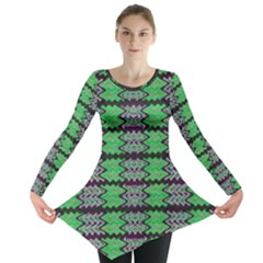 Pattern Tile Green Purple Long Sleeve Tunic